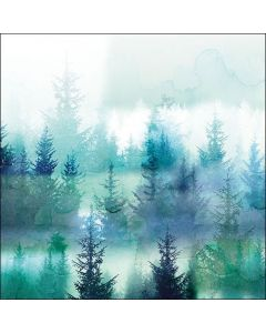 Paper Napkins for Decoupage, 4 Single Lunch Size Paper Napkins, Forest Fog