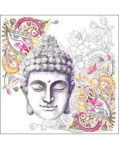 Paper Napkins for Decoupage, 4 Single Lunch Size Paper Napkins, Buddha Head Stone
