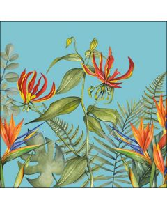 Ambiente Paper Napkins 3-ply Lunch Tropical Flowers Petrol