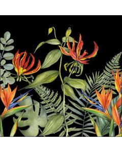 Ambiente Paper Napkins 3-ply Lunch Tropical Flowers Black
