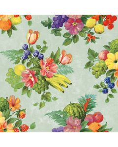 Flowers and Fruits Green - 4 Napkins for Decoupage