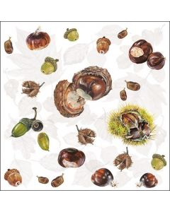 Paper Napkins for Decoupage, 4 Single Lunch Size Paper Napkins, Chestnuts