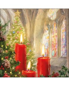 Paper Napkins for Decoupage, 4 Single Lunch Size Paper Napkins, Candles In Church