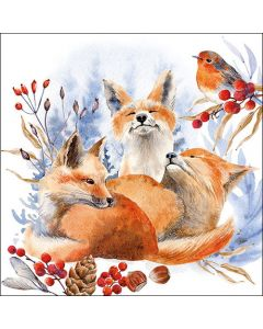 Paper Napkins for Decoupage, 4 Single Lunch Size Paper Napkins, Foxes And Robin