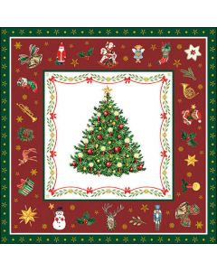 Christmas Evergreen Red - 4 Napkins for Decoupage