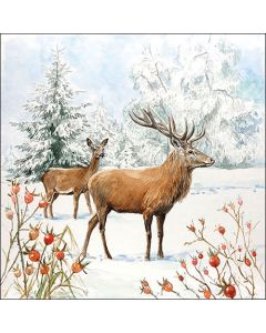 Deer In Snow - 4 Napkins for Decoupage