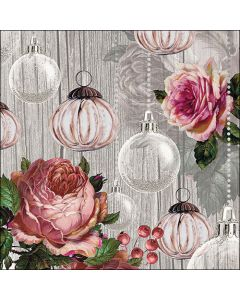Paper Napkins for Decoupage, 4 Single Lunch Size Paper Napkins, Roses And Baubles