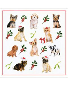 Paper Napkins for Decoupage, 4 Single Lunch Size Paper Napkins, Christmas Dogs