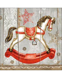 Paper Napkins for Decoupage, 4 Single Lunch Size Paper Napkins, Rocking Horse