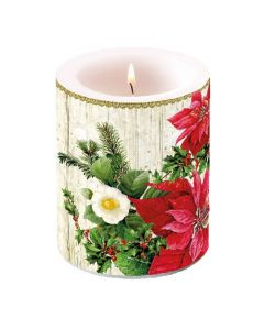 Ambiente Pillar Candle Poinsettia On Wood