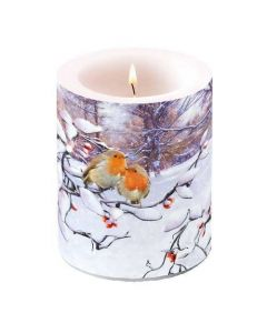 Ambiente Pillar Candle Robins on Branch