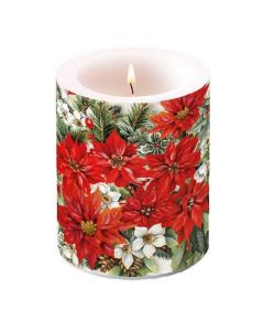 Ambiente Pillar Candle Poinsettia All Over