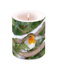AmbiePillar Candle Robin in Tree