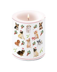 Ambiente Pillar Candle Christmas Dogs