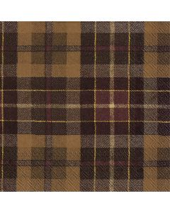 IHR Paper Napkins, Pack of 20 3-ply Lunch Size, Tartan Brown