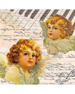 Paper Napkins for Decoupage, 4 Single Lunch Size Paper Napkins, Angel Faces