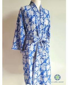 An Indian Summer - Paisley Block Print - Japonica - Blue & White