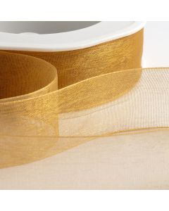 ,Italian Options - Organza Woven Edge Ribbon Antique Gold