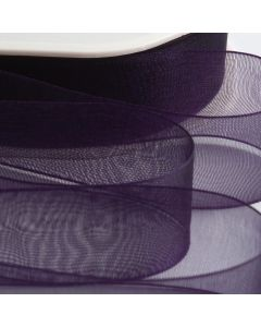 ,Italian Options - Organza Woven Edge Ribbon Aubergine