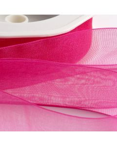 ,Italian Options - Organza Woven Edge Ribbon Azalea Pink