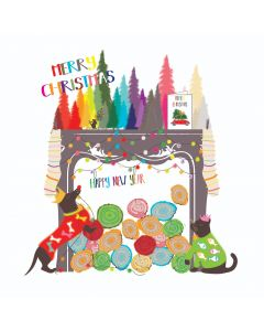 Five Dollar Shake Boxed Christmas Cards Merry Christmas Fireplace Pack of 6