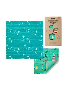 The Beeswax Wrap Co Sea Print Beeswax Wrap - Two Combo Pack
