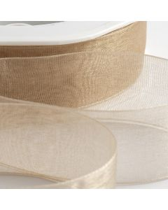 ,Italian Options - Organza Woven Edge Ribbon Beige