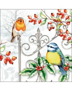 Birds & Holly - 4 Napkins for Decoupage