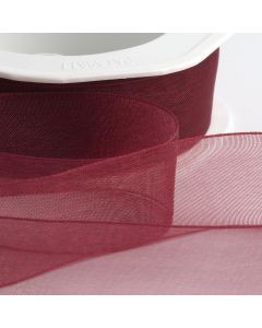 ,Italian Options - Organza Woven Edge Ribbon Bordeaux