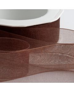 ,Italian Options - Organza Woven Edge Ribbon Brown