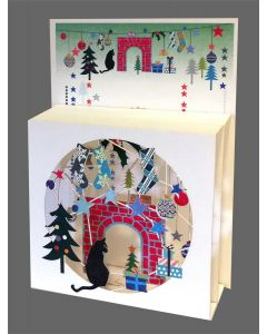 Forever Cards Magic Box Christmas Card Cat on Hearth