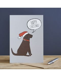 Sweet William Christmas Card Chocolate Labrador