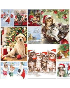 Festive Friends (Cats and Dogs) - Mixed pack of 20 Napkins for Decoupage