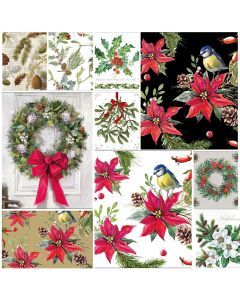 Christmas Flora - Mixed pack of 20 Paper Napkins for Decoupage