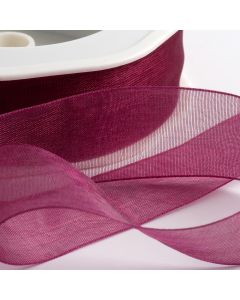 ,Italian Options - Organza Woven Edge Ribbon Dark Raspberry