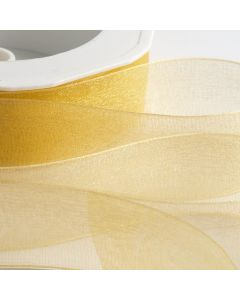 ,Italian Options - Organza Woven Edge Ribbon Gold
