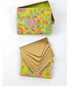 Globe Home Handmade Paper Notecards Floral Twist Lime