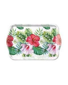 Ambiente Melamine Scatter Tray Hibiscus Floral White