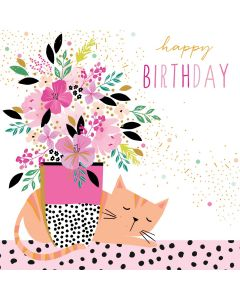 The Art File Sara Miller London Card Birthday Card Cat's Vase