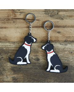 Sweet William Springer Spaniel, Black and White Keyring