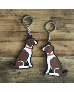 Sweet William Springer Spaniel, Liver and White Keyring