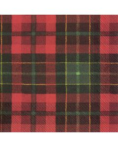 IHR Paper Napkins, Pack of 20 3-ply Lunch Size, Tartan Napkins Red