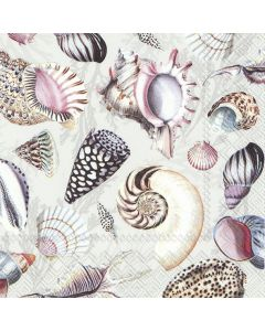 Paper Napkins for Decoupage, 4 Single Lunch Size Paper Napkins  Shells of the Sea