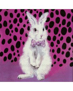 Paper Napkins for Decoupage, 4 Single Lunch Size Paper Napkins, Bad Hair Bunny