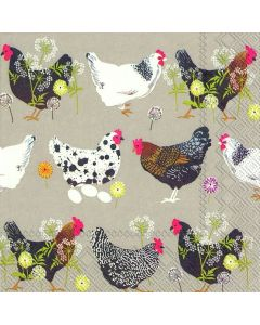 IHR Paper Napkins, Pack of 20 3-ply Lunch Size, Spatter Hens