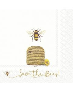 IHR Paper Napkins, Pack of 20 3-ply Lunch Size, Save The Bees