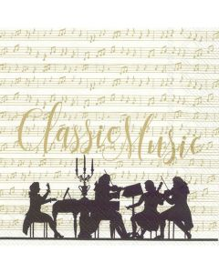 Classic Music Cream Gold - 4 Napkins for Decoupage
