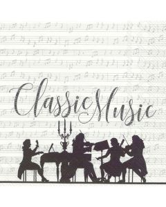 Classic Music Silver White - 4 Napkins for Decoupage