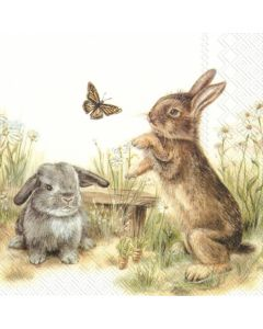 Bunny and Clyde - 4 Napkins for Decoupage