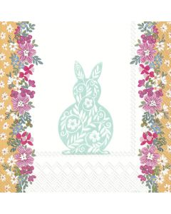 Easter Greetings Turquoise - 4 Napkins for Decoupage